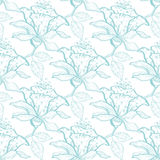 Vector light blue lace florals seamless pattern Royalty Free Stock Photo