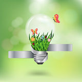 Vector light bulb with beautiful flower inside wit. Light bulb with beautiful flower inside with green bokeh abstract light background, Vector illustration Stock Images