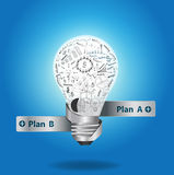 Vector Light bulb with drawing graphs and charts i. Light bulb with drawing graphs and charts inside, Creative business plan strategy concept idea, Vector Stock Photos