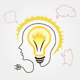 Vector light bulb hand drawn. For design in business royalty free illustration