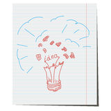 Vector light bulb hand drawn. An explosion of light,an idea for a business project Royalty Free Stock Photo
