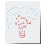 Vector light bulb hand drawn. An explosion of light,an idea for a business project vector illustration