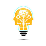 Vector Light bulb human creative with technology icons Royalty Free Stock Photography