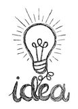 Vector light bulb icon with concept of idea. Doodle hand drawn s Stock Image
