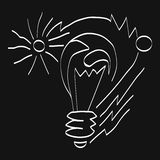 Vector light bulb icon with concept of idea, the sun's rays. Doodle hand drawn sign. Illustration for print. Web on a black background. EPS 10 Royalty Free Stock Photo