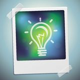 Vector light bulb icon on polaroid frame Royalty Free Stock Photography