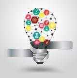 Vector light bulb idea hexagon modern design templ royalty free illustration