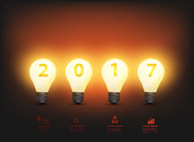 Vector light bulb ideas new year 2017. Light bulb ideas, new year 2017 vector illustration Stock Photo
