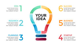 Vector light bulb infographic. Template for circle diagram, graph, presentation and round chart. Business startup idea Stock Photo