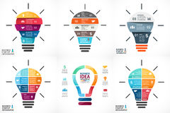 Vector light bulb infographic. Template for circle. Layout for your options or steps. Abstract template for background royalty free illustration