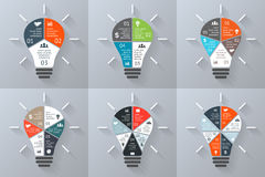 Vector light bulb infographics set. 3, 4, 5, 6, 7 options, parts, steps, processes. Template for circle diagram, graph Royalty Free Stock Image