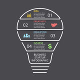 Vector light bulb linear infographic. Template for lines diagram, graph, presentation and layers chart. Business startup Stock Photo