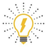 Vector light bulb outline icons with dots around stock illustration