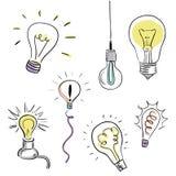 Vector Light Bulb Set, sketchy design. Bulb design over white background, vector illustration Royalty Free Stock Images