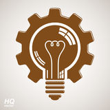Vector light bulb shape, high quality cog wheel isolated on whit Royalty Free Stock Photography