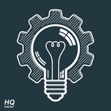 Vector light bulb shape, high quality cog wheel. Technical solut Royalty Free Stock Image