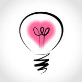 Vector light bulb, symbol of heart Stock Image
