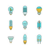 Vector light bulbs iconset in minimal lineart flat style.  Royalty Free Stock Photos