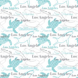 Vector Light California Cities Animals Travel Seamless Pattern with Los Angeles, San Francisco, Turtles, and Whales. Royalty Free Stock Photography