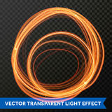 Vector light effect of circle line gold swirl. Glowing light fire flare trace. Vector light fire trail effect of circle line gold swirl. Glowing round flare Royalty Free Stock Photography