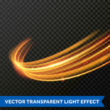 Vector light effect of line gold swirl. Glowing light fire flare trace. Light effect gold line swirl. Vector glowing light fire flare trace or magic glitter Stock Image