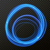 Vector light effect of circle line neon. Glowing light fire flare trace. Vector light fire trail effect of circle line neon blue swirl. Glowing round flare trace Stock Photos
