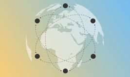 Vector Light globe, orbits of elements and gradient background. Royalty Free Stock Photo