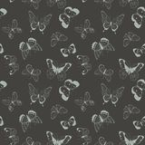 Vector light gray flying butterflies seamless pattern on dark gray background. Vector colorful flying butterflies seamless pattern background. Perfect for royalty free illustration