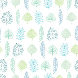Vector light green and blue geometrical tropical summer hawaiian seamless pattern with tropical green plants and leaves Stock Photography