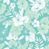 Vector light green and blue tropical summer hawaiian seamless pattern with tropical plants, leaves, and hibiscus flowers Stock Photo