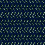 Vector mimicking folk herringbone stitching repeat seamless pattern. Light green hand drawn tribal lines and stripes, on dark blue stock illustration