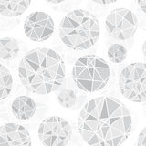 Vector Light Grey Geometric Mosaic Circles With Triangles Repeat Seamless Pattern Background. Can Be Used For Fabric Stock Photo
