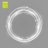 Vector light ring. Round shiny frame with lights dust trail particles isolated on transparent background. Magic concept Stock Photo