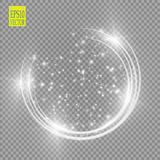 Vector light ring. Round shiny frame with lights dust trail particles isolated on transparent background. Magic concept Stock Photos