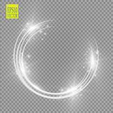 Vector light ring. Round shiny frame with lights dust trail particles isolated on transparent background. Magic concept Stock Image