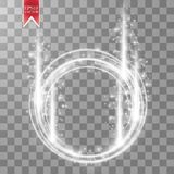 Vector light ring. Round shiny frame with lights dust trail particles isolated on transparent background. Royalty Free Stock Photos