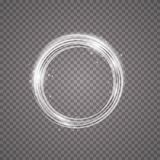 Vector light ring. Round shiny frame with lights dust trail particles isolated on transparent background. Magic concept. EPS 10 Stock Images
