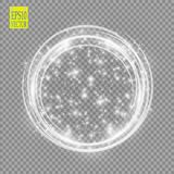 Vector light ring. Round shiny frame with lights dust trail particles isolated on transparent background. Magic concept Royalty Free Stock Photography