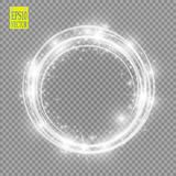 Vector light ring. Round shiny frame with lights dust trail particles isolated on transparent background. Magic concept Stock Images