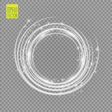 Vector light ring. Round shiny frame with lights dust trail particles isolated on transparent background. Royalty Free Stock Photo