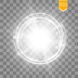 Vector light ring. Round shiny frame with lights dust trail particles  on transparent background. Magic concept Stock Photography