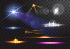 Vector light sources, concert lighting, stage spotlights set. Concert spotlight with beam, illuminated spotlights for Royalty Free Stock Images