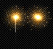 Vector light sparkler decoration. Holiday sparkler firework background isolated bengal bright light.  Stock Photography