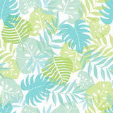 Vector light tropical leaves summer hawaiian seamless pattern with tropical green plants and leaves on navy blue