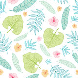 Vector light tropical summer hawaiian seamless pattern with tropical plants, leaves, and hibiscus flowers on white royalty free illustration