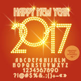 Vector light up Happy New Year 2017 greeting card. With set of letters, symbols and numbers. File contains graphic styles Stock Photo