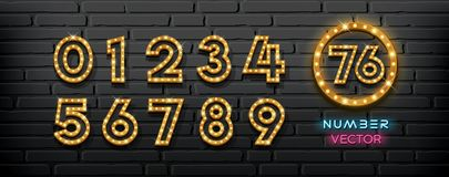 Free Vector Light Up Lamp Numbers Collection On Block Wall Black Background Royalty Free Stock Photography - 162807187