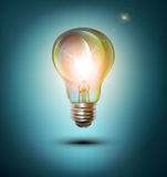 Vector  lightbulb on a blue background Stock Photos