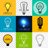 Vector Lightbulb Collection. Set of various light bulb symbols, vector illustration stock illustration