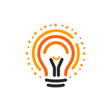 Vector lightbulbs with line, dots and beam logo. New idea symbol, colorful logotypes. Flat abstract bright cartoon bulb Royalty Free Stock Photography